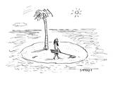 Castaway on Island with metal detector - New Yorker Cartoon