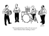 """To be perfectly honest  Pete  I'm not sure it's Clear Channel that's hold…"" - New Yorker Cartoon"