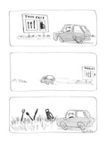 Car following road sign with fork  knife and spoon  and a gas pump  only t… - New Yorker Cartoon