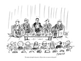 """The subject of tonight's discussion is: why are there no women on this pa…"" - New Yorker Cartoon"