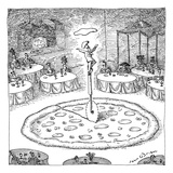"In the middle of a restaurant  a chef balances atop a giant pizza-cutter (…"" - New Yorker Cartoon"