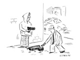 Man on the street holding a gun for passersby to drop money into open gun … - New Yorker Cartoon
