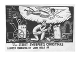 Angel over the head of street sweeper's head as he finds a doll in the trash - New Yorker Cartoon