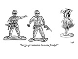 """""""Sarge  permission to move freely"""" - New Yorker Cartoon"""