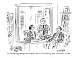 """It's a terrifically gripping detective thriller  but we were wondering if…"" - New Yorker Cartoon"