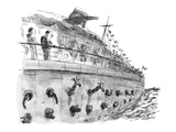 A passenger on a pleasure cruise looks down and sees animals popping their… - New Yorker Cartoon