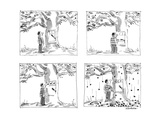 Man approaches slot machine built into a cherry tree He pulls the lever  … - New Yorker Cartoon