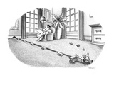 Mouse riding tractor makes little hay bundles of carpeting - New Yorker Cartoon