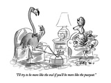 """I'll try to be more like the owl if you'll be more like the pussycat"" - New Yorker Cartoon"