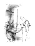 Man in bathroom A hand reaches out of a water-filled sink holding up a sw… - New Yorker Cartoon