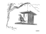 Bird  with menu under its wing  on a bird feeder - New Yorker Cartoon