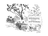 Couple in car pass a sign that reads  'South Fallsview will not be seen to… - New Yorker Cartoon
