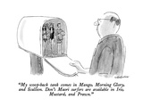 """My scoop-back tank comes in Mango  Morning Glory  and Scallion  Don's Ma…"" - New Yorker Cartoon"