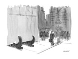 A pair of feet  like the witch's in 'The Wizard of Oz' poke out from unde… - New Yorker Cartoon