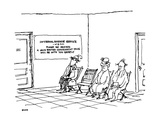 People sitting in waiting room with large sign reading: 'Internal Revenue … - New Yorker Cartoon