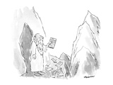 "Guru on mountain finds ""Yang Szechuan"" take out menus all over the entranc… - New Yorker Cartoon"
