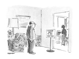 "Husband stands in front of the kitchen waiting for his wife to finish cook…"" - New Yorker Cartoon"