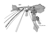 "Man hitchhiking alone with sign  ""Just Married"" - New Yorker Cartoon"