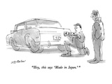 """Hey  this says 'Made in Japan'"" - New Yorker Cartoon"