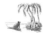 "Man in desert sees sign by oasis ""Jacket Required"" - New Yorker Cartoon"