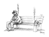 Hobo on park bench sees bird smoking the same kind of cigar he is - New Yorker Cartoon