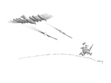 Hunter running from eagle with bombs under it's wings - New Yorker Cartoon