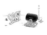 Man stands in sculptured numbers reading '1992' looking at a cannon labell… - New Yorker Cartoon