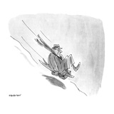 Man sliding down snowy hill on briefcase - New Yorker Cartoon