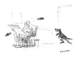 Dog throwing slippers at master - New Yorker Cartoon