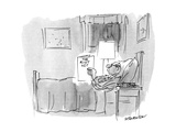 "Man in bed reading ""The Riot Act"" - New Yorker Cartoon"
