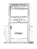 """Door with name plate """"Eggerton& Peppo-Specializing in Amicable Divorces an… - New Yorker Cartoon"""
