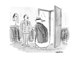 Snow man tries on winter coat and hat - New Yorker Cartoon