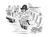 Pirate with T-shirt printed with 'Pirate phrases' - New Yorker Cartoon