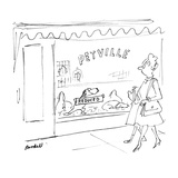 Dog in window of store called 'Petville' holds up 'Reduced' sign  Woman a… - New Yorker Cartoon