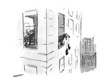 Dog dropping slippers  out of the window - New Yorker Cartoon