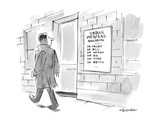 A man walks by a sign for the URBAN MEDICAL BUILDING  which lists the name… - New Yorker Cartoon