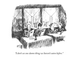 """I don't see one damn thing we haven't eaten before"" - New Yorker Cartoon"