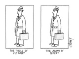 "Two businessmen  exactly alike  are labeled ""The Thrill of Victory"" and ""T…"" - New Yorker Cartoon"