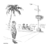 "Elder man at the side of the road  signal on crosswalk reads ""Mosey"" and ""… - New Yorker Cartoon"