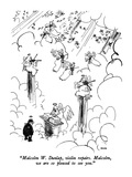 """Malcolm W Dunlap  violin repairs  Malcolm  we are so pleased to see you…"" - New Yorker Cartoon"