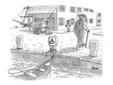 Sailor with a wooden leg  in colonial times  leaves his row boat tied up t… - New Yorker Cartoon