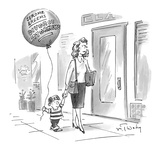 Small boy walks down the street holding his mother's hand  with a balloon … - New Yorker Cartoon