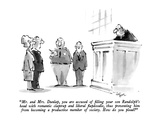 """""""Mr and Mrs Dunlap  you are accused of filling your son Randolph's head …"""" - New Yorker Cartoon"""