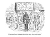 """""""Would you like to have a drink with me after the genocide panel"""" - New Yorker Cartoon"""