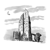 A giant ape scratches his head next to a proposed replacement for the Coli… - New Yorker Cartoon