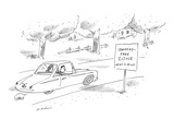 Man and woman driving past road sign that reads  'Lewinsky-Free Zone Next … - New Yorker Cartoon
