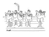 "Men looking angrily at man laughing at ""New  York Times"" - New Yorker Cartoon"