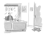 Executive at ofce desk looks at pile of 'While You Were In' slips stuffed… - New Yorker Cartoon