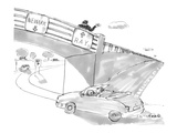 Two road signs on an overpass One points to 'Newark' and the other points… - New Yorker Cartoon