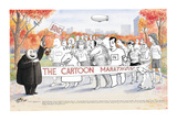 Various New Yorker Cartoon characters in Central Park ready to start the N… - New Yorker Cartoon